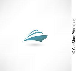 liner., barco, océano, crucero