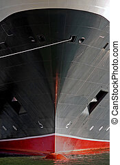 The bow of a huge luxury cruise ship
