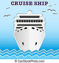 liner., ilustração, cruzeiro, mar, passageiro