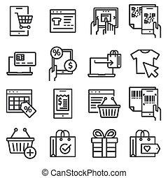 Liner online shopping, e-commerce icons set