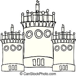 Liner painting castle on white. Vector illustration