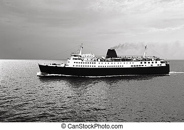 Passanger carrier ship on sail stylized to old black and white poster.