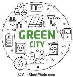 lines, зеленый, иллюстрация, город