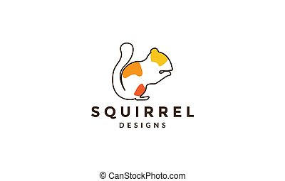 lines abstract colorful squirrel logo vector icon illustration design