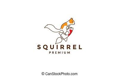 lines abstract squirrel with rocket logo symbol vector icon illustration graphic design