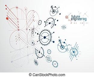 lines., abstratos, desenho, feito, círculos, engenharia, experiência., técnico, vetorial, tecnologia, papel parede