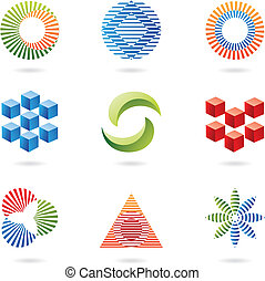 lines and cubes, logo shapes and graphic design elements,...