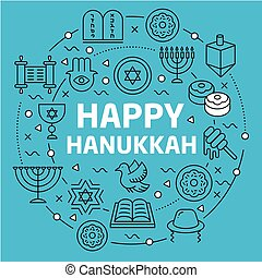Lines Background illustration happy hanukkah