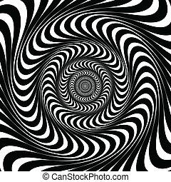 lines., bakgrund, svart, vector., virvla runt, vit, illusion...