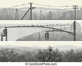 lines., bomen, macht, vogels