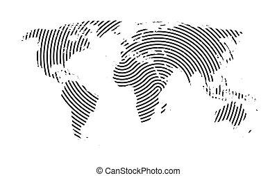 lines., carte, mondiale
