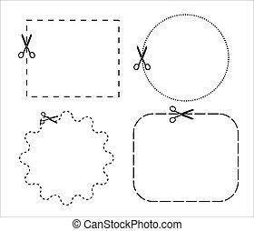 lines., contorno, punteggiato, scissors., taglio, carta, lungo, forbici, set, icona, vettore, linea., fondo., taglio, illustration., bianco