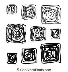 Lines hand drawn frame vector set illustration