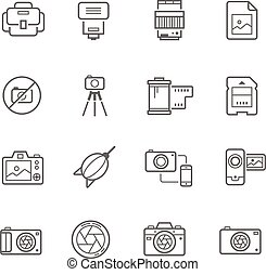 Lines icon set - camera and accesso