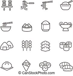 Lines icon set - Eastern food