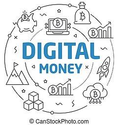Lines illustration digital money circle flat and perfect