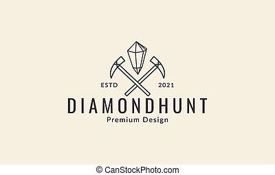 lines miners precious stones logo design vector icon symbol illustration
