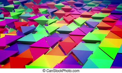 """Lines of colored triangular pyramids"" - ""Inspiring 3d..."