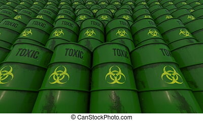 Lines of green barrels with toxic content. Low angle view....