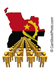 Lines of people with Angola map flag illustration