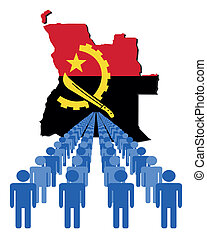people with Angola map flag