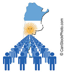 people with Argentina map flag