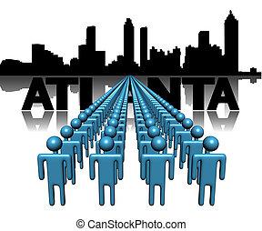 Lines of people with Atlanta skyline illustration