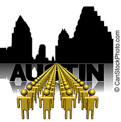 Lines of people with Austin skyline illustration
