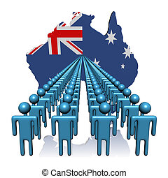 Lines of people with Australia map flag illustration