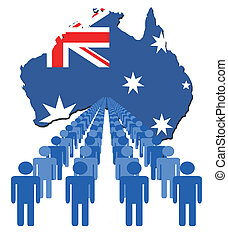people with Australia map flag