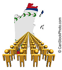 Lines of people with Belize map flag illustration