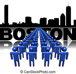 Lines of people with Boston skyline illustration