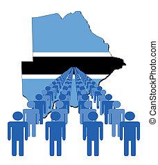 people with Botswana map flag