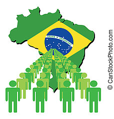 people with Brazil map flag
