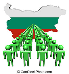 Lines of people with Bulgaria map flag illustration