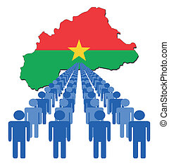 people with Burkina map flag