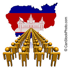 Lines of people with Cambodia map flag illustration