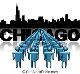 Lines of people with Chicago skyline illustration