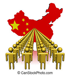 Lines of people with China map flag illustration