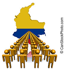 Lines of people with Colombia map flag illustration