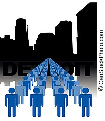 people with Detroit skyline - Lines of people with Detroit...