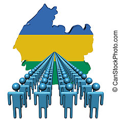 Lines of people with Gabon map flag illustration