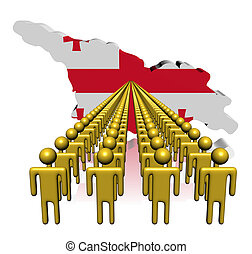 Lines of people with Georgia map flag illustration
