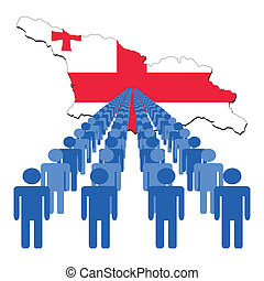 people with Georgia map flag
