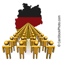 Lines of people with Germany map flag illustration