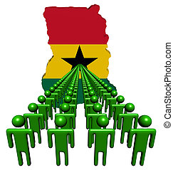Lines of people with Ghana map flag illustration