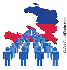 people with Haiti map flag