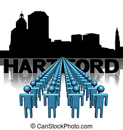 Lines of people with Hartford skyline illustration