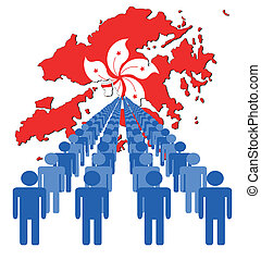 people with Hong Kong map flag