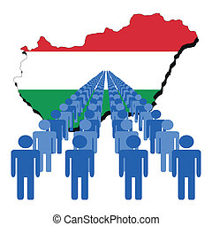 people with Hungary map flag